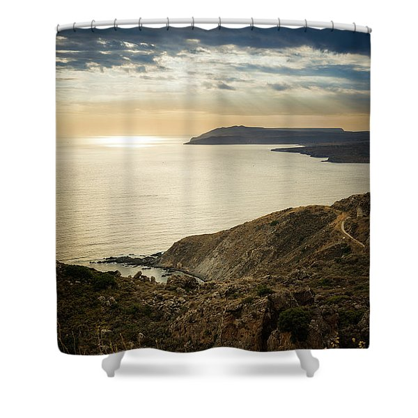 Shower Curtain featuring the photograph Sunset Near Tainaron Cape by Milan Ljubisavljevic
