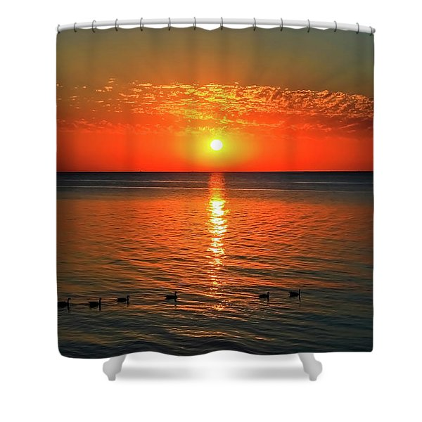 Shower Curtain featuring the photograph Sunset On Green Bay by Dawn Richards