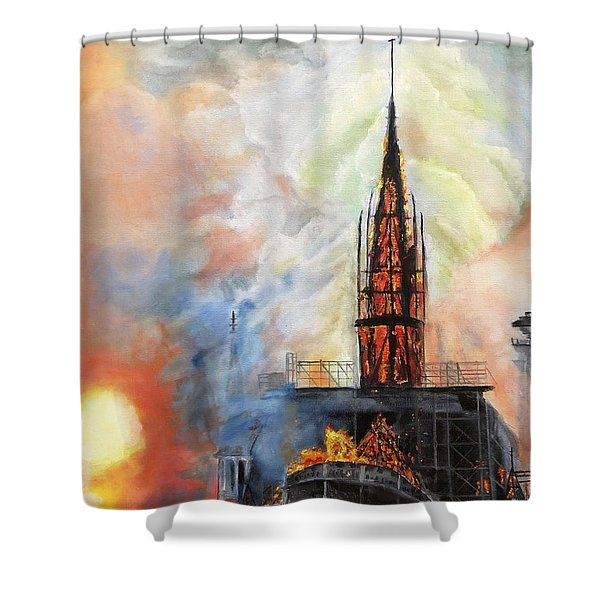 Sunset On Notre Dame Shower Curtain