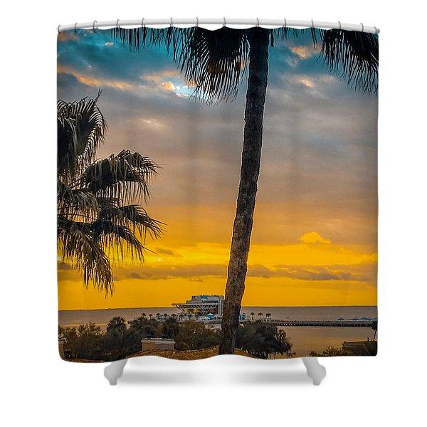 Sunset On The Island Shower Curtain