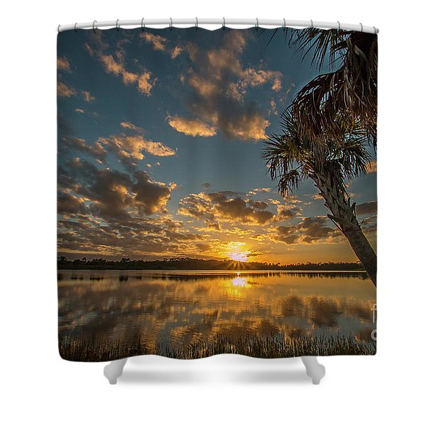 Shower Curtain featuring the photograph Sunset On The Pond by Tom Claud