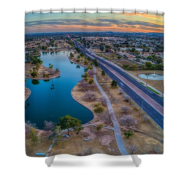 Sunset Over Chaparral  Shower Curtain