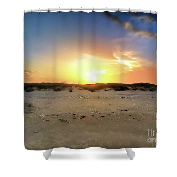 Sunset Over N Padre Island Beach Shower Curtain