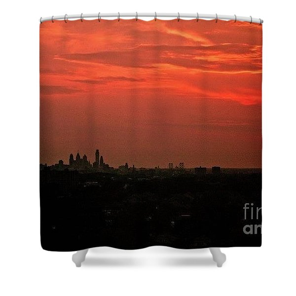 Sunset Over Philly Shower Curtain