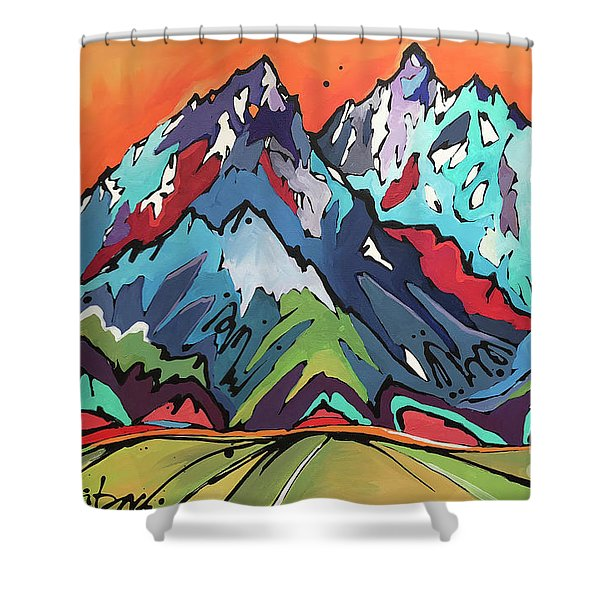 Sunset Over The Tetons Shower Curtain
