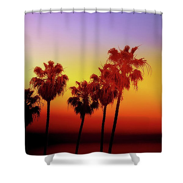 Sunset Palm Trees- Art By Linda Woods Shower Curtain