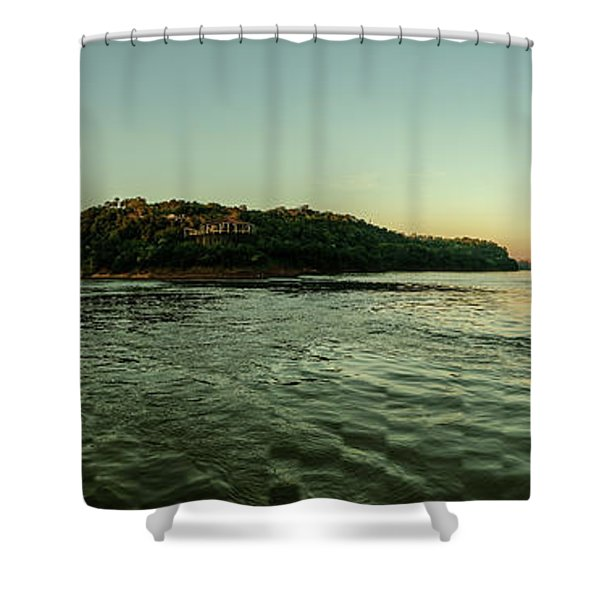 Sunset River Confluence Shower Curtain