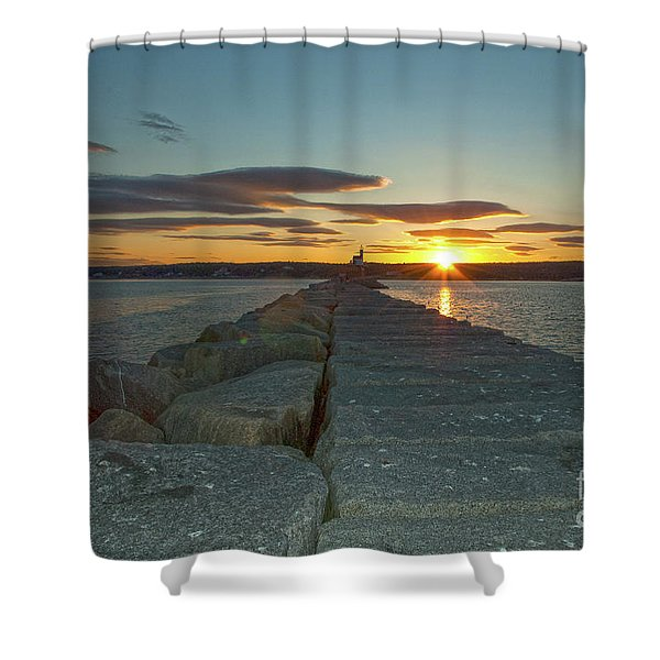 Sunset Seawall Shower Curtain