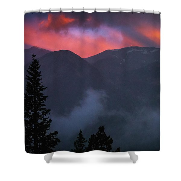 Shower Curtain featuring the photograph Sunset Storms Over The Rockies by John De Bord