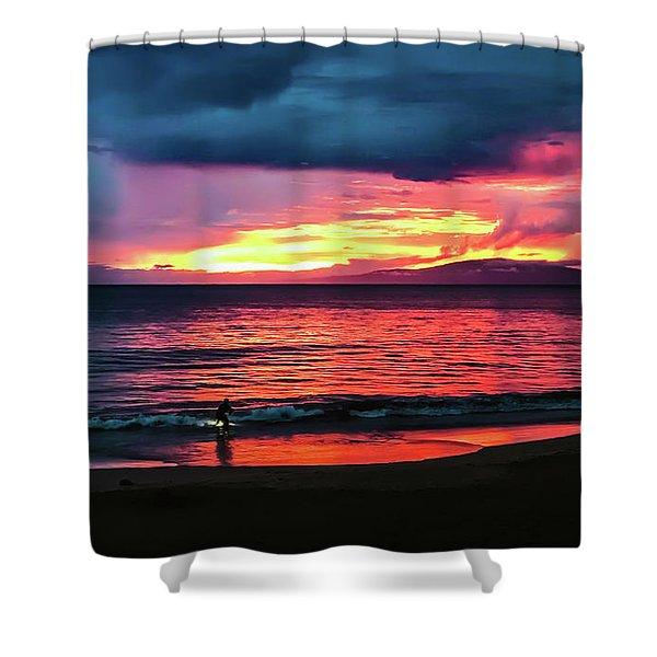 Sunset Surf At Maui Hawaii Shower Curtain