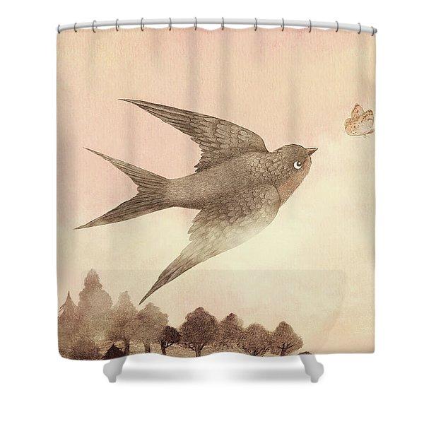 Sunset Swallow Shower Curtain