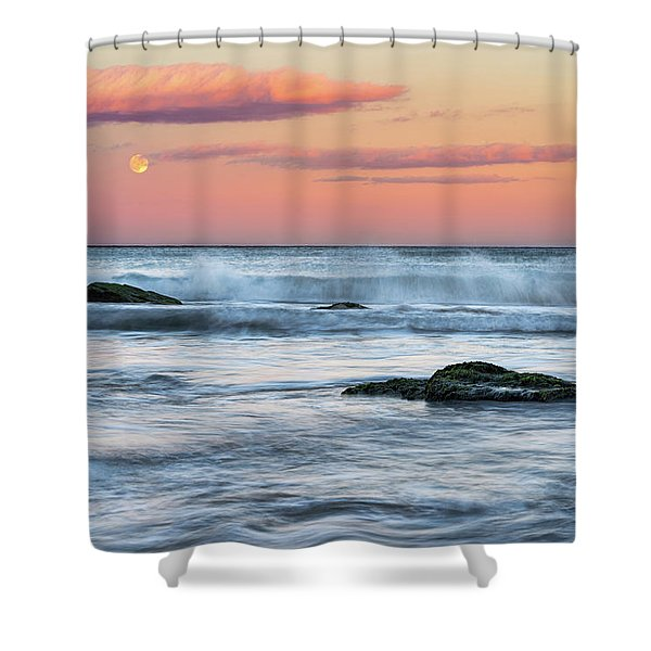 Shower Curtain featuring the photograph Super Moon And Sunset At Sozopol Town Beach by Milan Ljubisavljevic