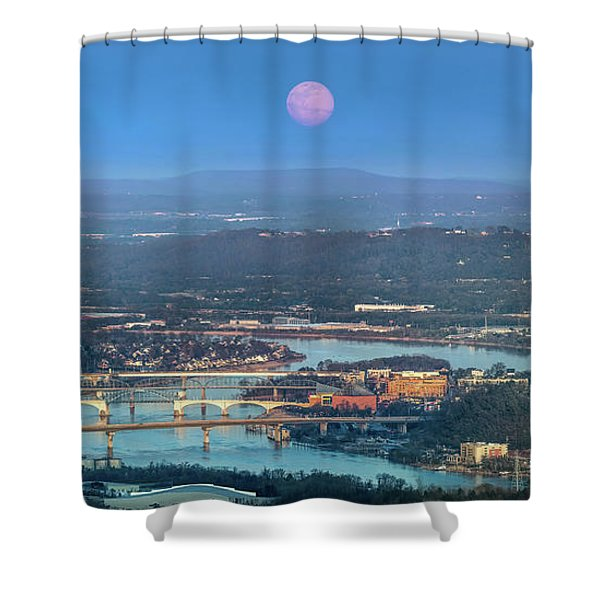Super Moon Over Chattanooga Shower Curtain