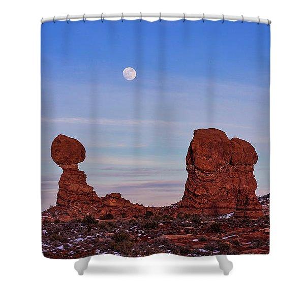 Super Moonrise At Balanced Rock Shower Curtain