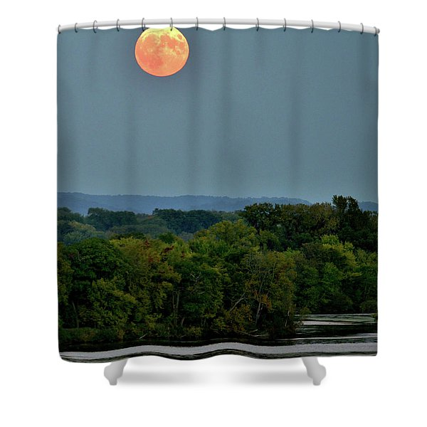 Supermoon On The Mississippi Shower Curtain