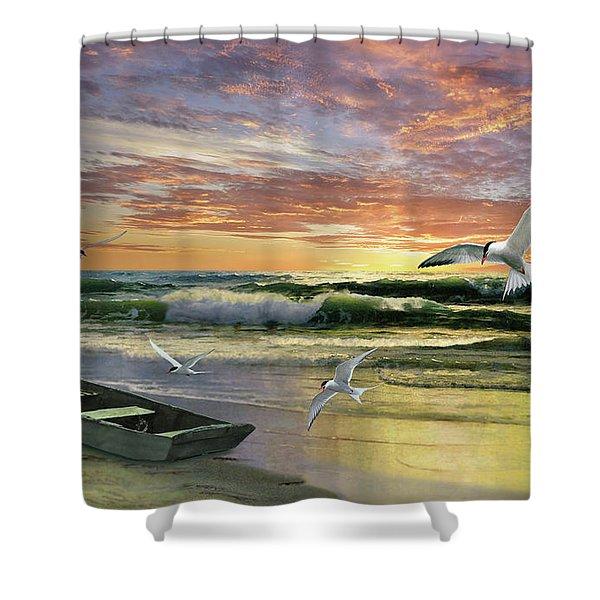 Surf At Sunrise Shower Curtain