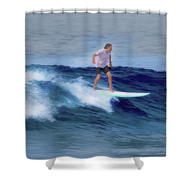 Surfing Andy Shower Curtain