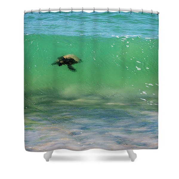 Surfing Turtle Shower Curtain
