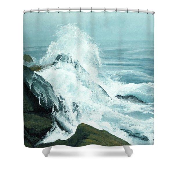 Surging Waves Break On Rocks Shower Curtain