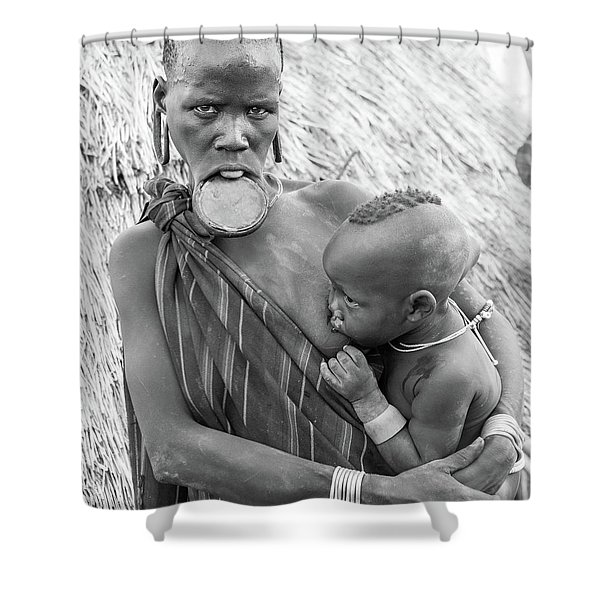 Mursi Mother And Child Shower Curtain