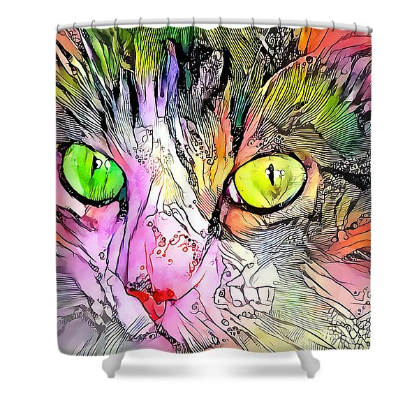 Surreal Cat Wild Eyes Shower Curtain