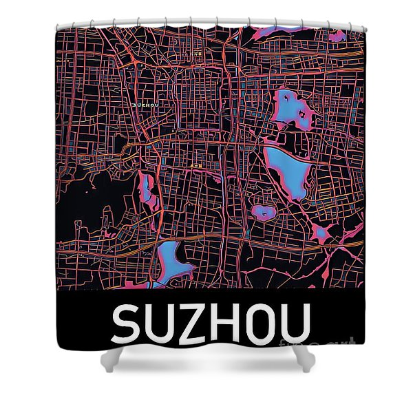 Suzhou City Map Shower Curtain