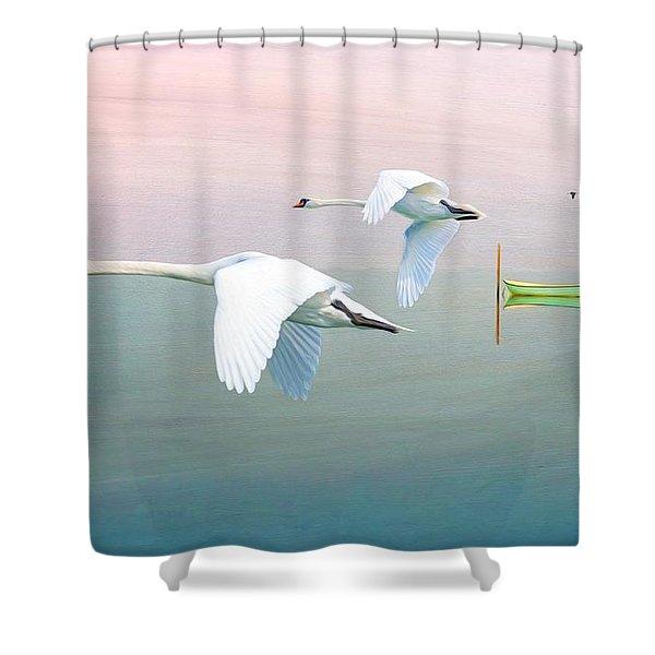Swans At Sunrise Shower Curtain