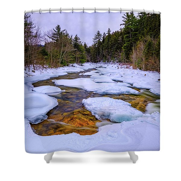 Shower Curtain featuring the photograph Swift River Winter  by Jeff Sinon