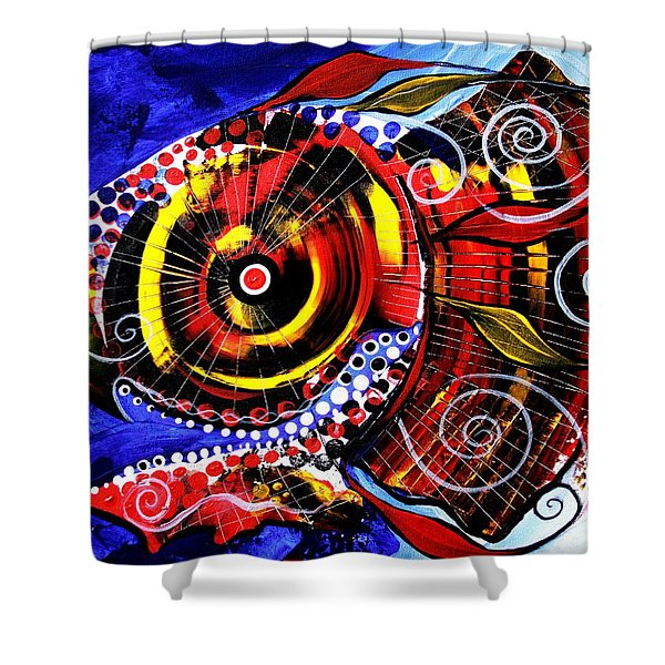 Swollen, Red Cavity Fish Shower Curtain