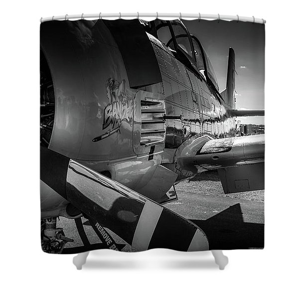 T-28b Trojan In Bw Shower Curtain