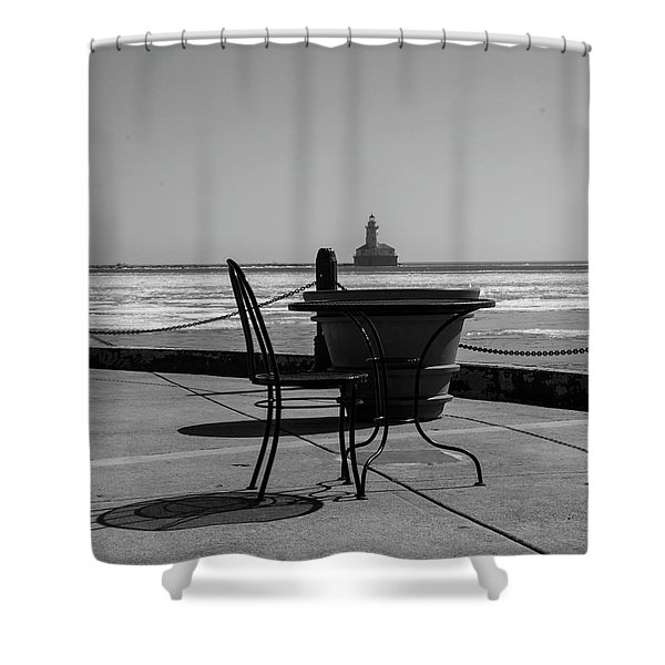 Table For One Bw Shower Curtain