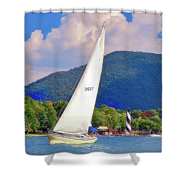 Tacking Lighthouse Sailor, Smith Mountain Lake Shower Curtain