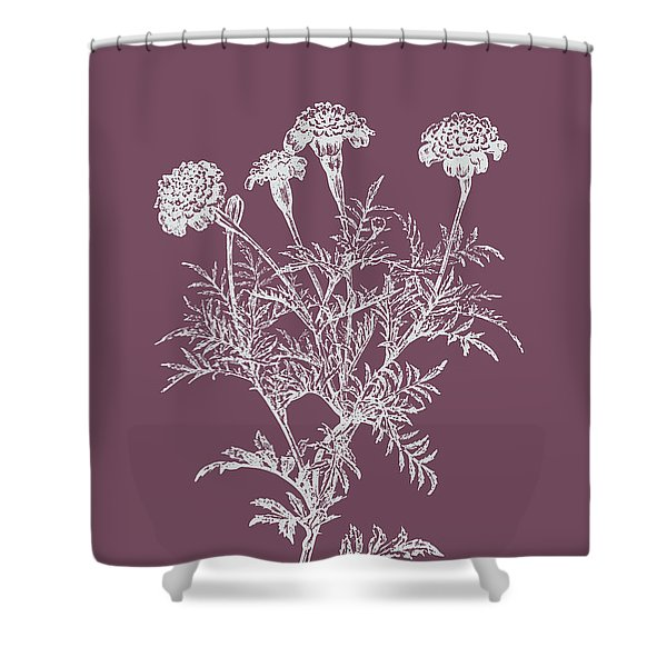 Tagetes Patula Purple Flower Shower Curtain