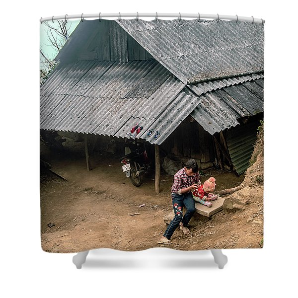 Taking Care Of Baby In Sapa, Vietnam Shower Curtain