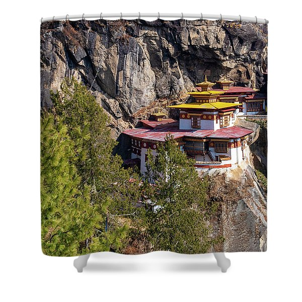 Shower Curtain featuring the photograph Taktsang Monastery  by Fabrizio Troiani