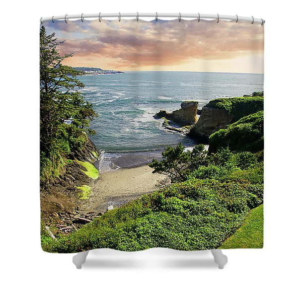 Tall Conifer Above Protected Small Cov Shower Curtain