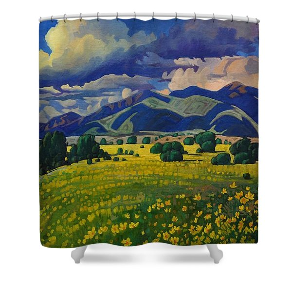Taos Yellow Flowers Shower Curtain