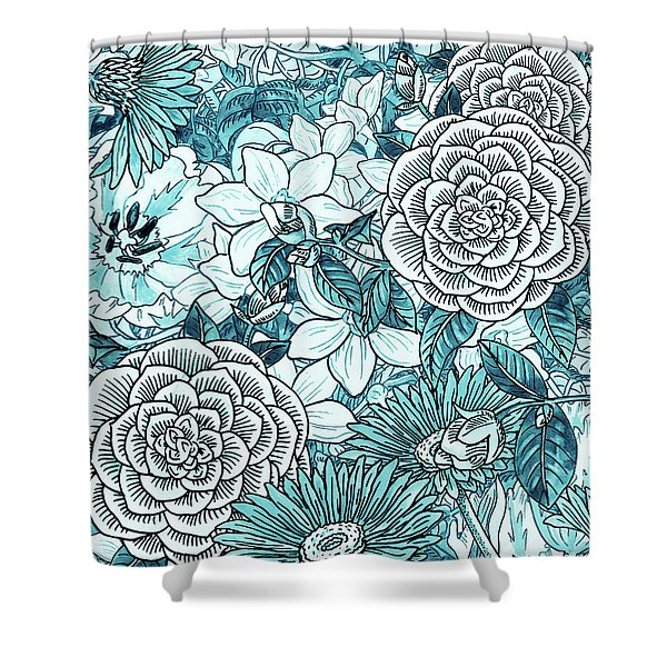 Teal Blue Watercolor Botanical Flowers Garden Pattern Flowerbed II Shower Curtain