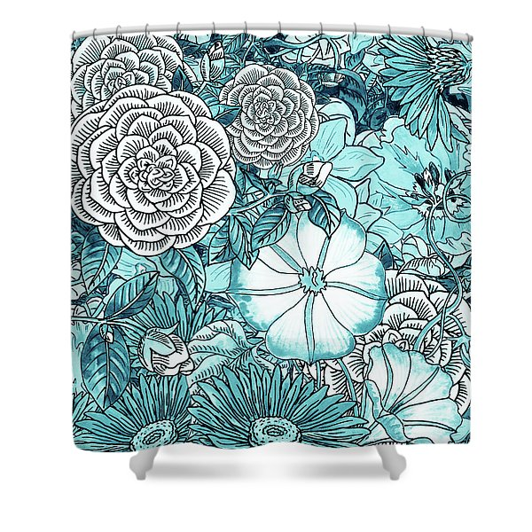 Teal Blue Watercolor Botanical Flowers Garden Pattern Flowerbed IIi Shower Curtain