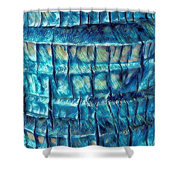 Teal Palm Bark Shower Curtain