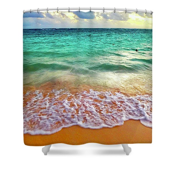 Teal Shore  Shower Curtain