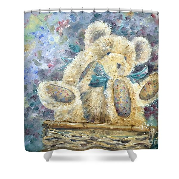 Teddy Bear In Basket Shower Curtain