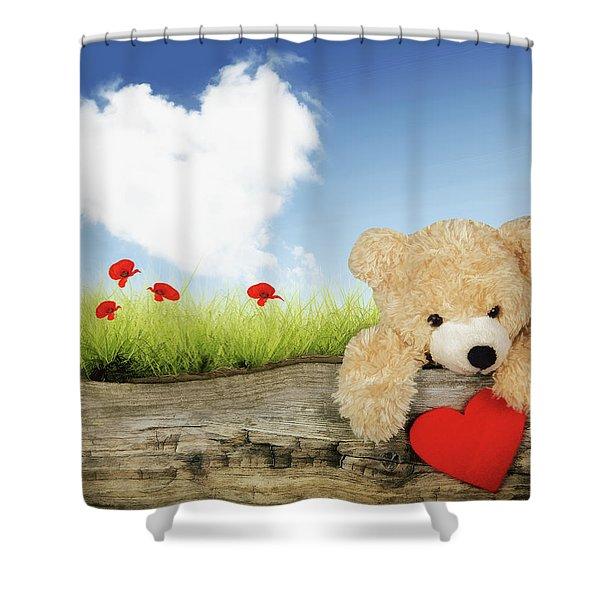 Teddy Bear With Heart Shower Curtain