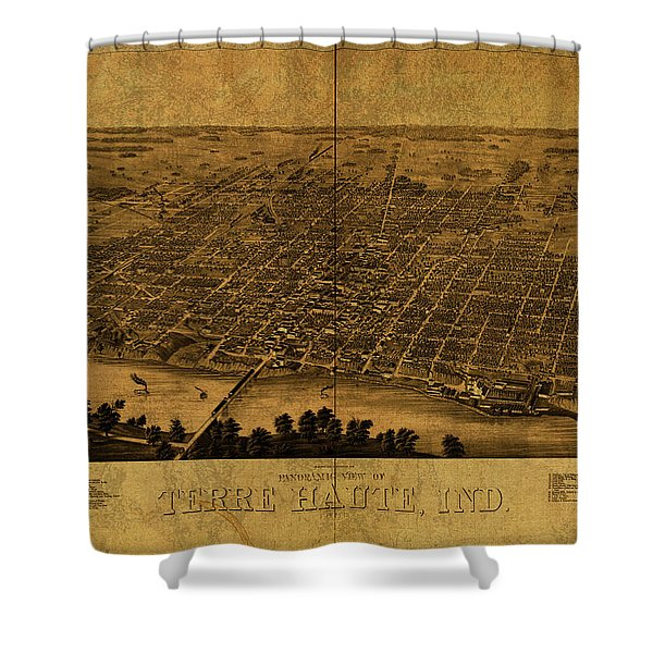 Terra Haute Indiana Vintage City Street Map 1890 Shower Curtain