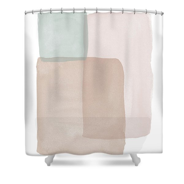 Terrazzo Watercolor Blocks 1- Art By Linda Woods Shower Curtain
