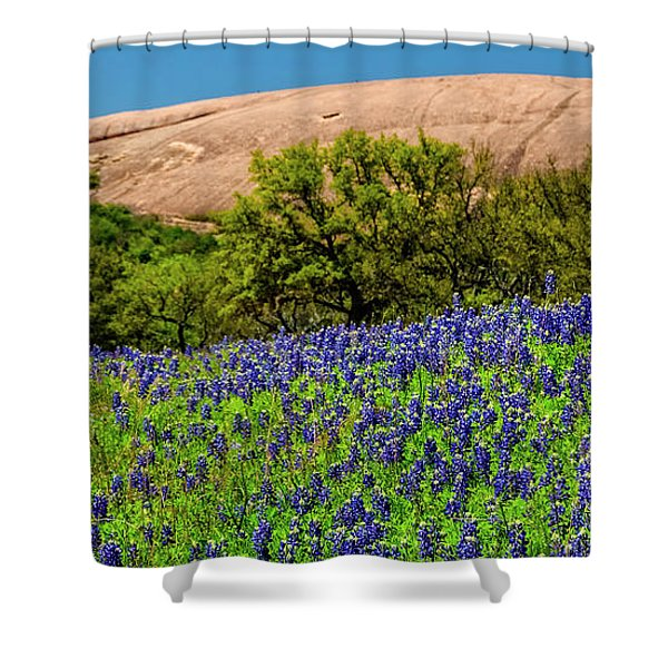 Texas Bluebonnets And Enchanted Rock 2016 Shower Curtain