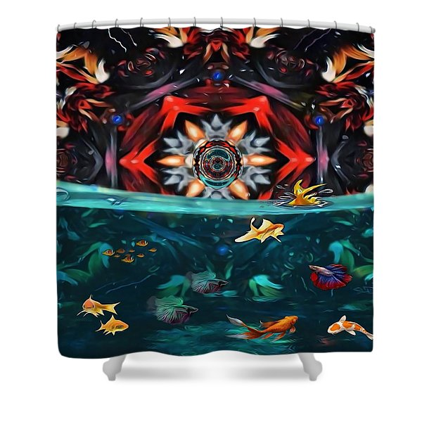The Abstract Fish Tomb Shower Curtain