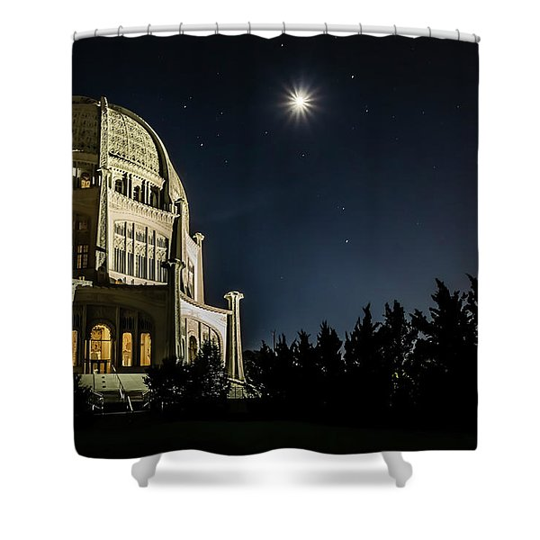 The Bahais Temple On A Starry Night Shower Curtain