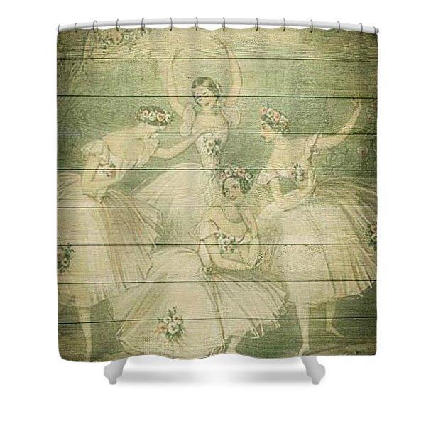 The Ballet Dancers Shabby Chic Vintage Style Portrait Shower Curtain