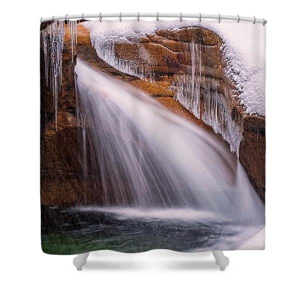 Shower Curtain featuring the photograph The Basin, Close Up In A Winter Storm by Jeff Sinon